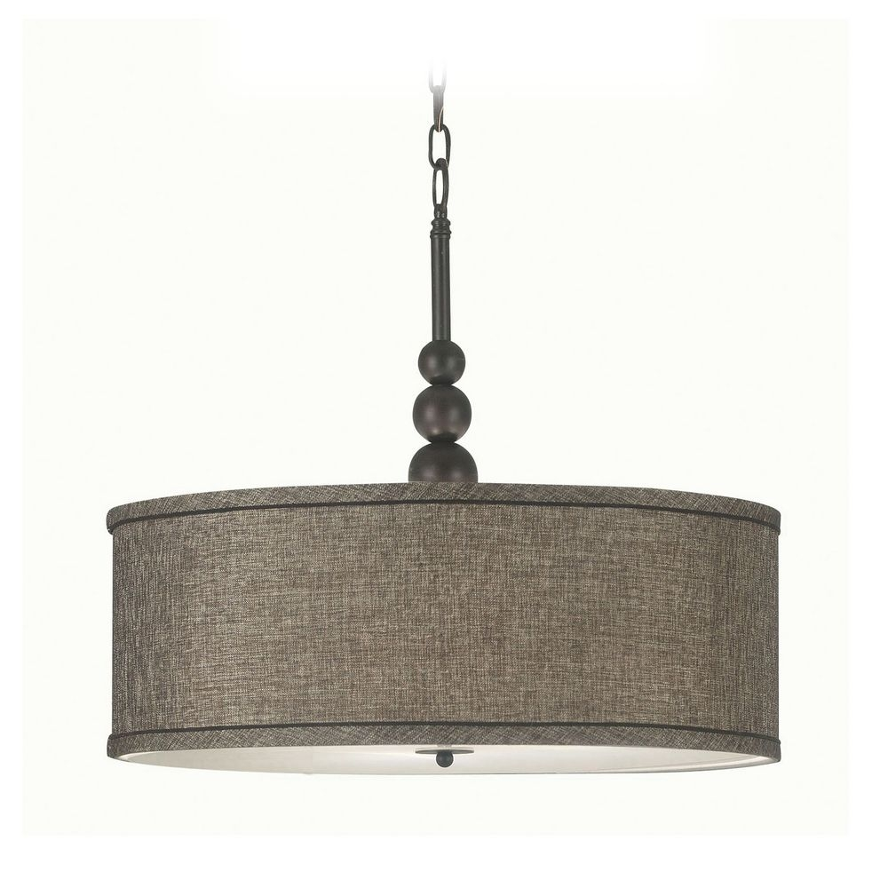 Modern Pendant Light With Drum Shade In Oil Rubbed Bronze Within Fabric Drum Shade Chandeliers (Image 21 of 25)