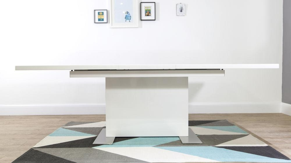 Modern Rectangular White Gloss Extending Dining Table | Uk Throughout White Extending Dining Tables (Image 14 of 20)