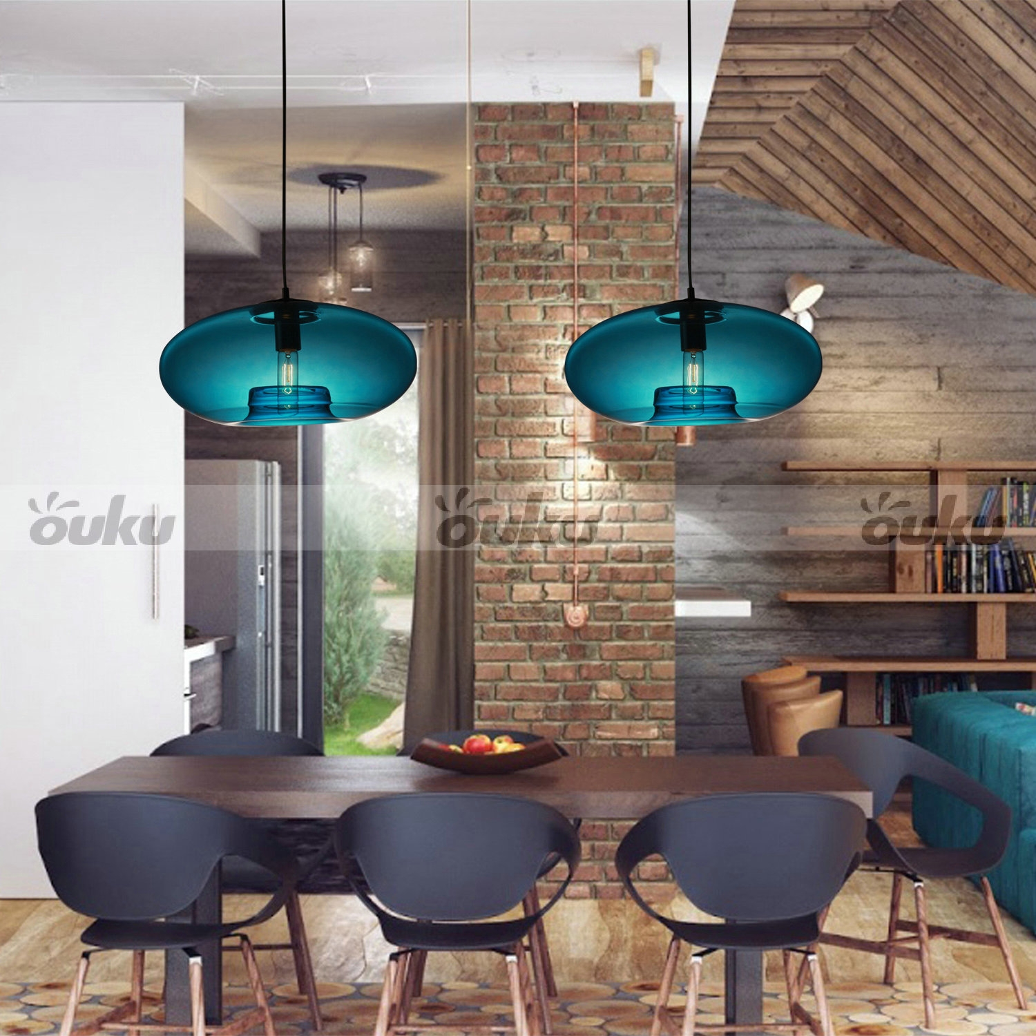 Modern Retro Vintage Ceiling Lamp Chandelier Lighting Fixture Within Turquoise Bubble Chandeliers (Image 21 of 25)