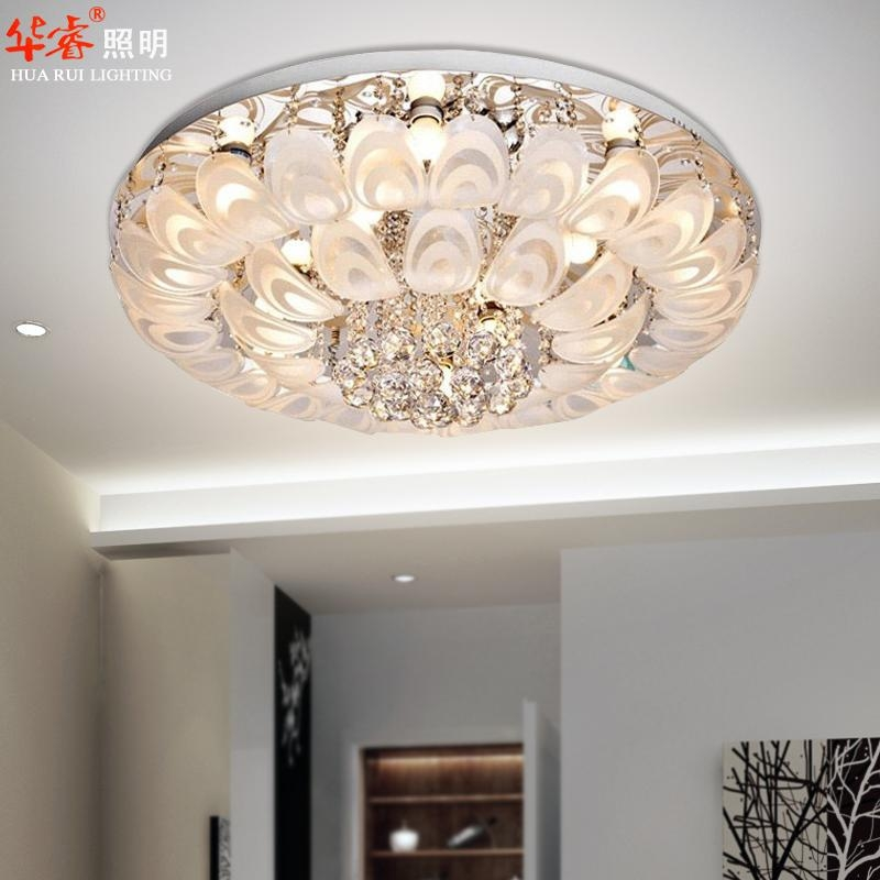 Modern Round Crystal Chandeliers D80cm Flush Mount Ceiling Lamp Inside Wall Mount Crystal Chandeliers (Image 16 of 25)