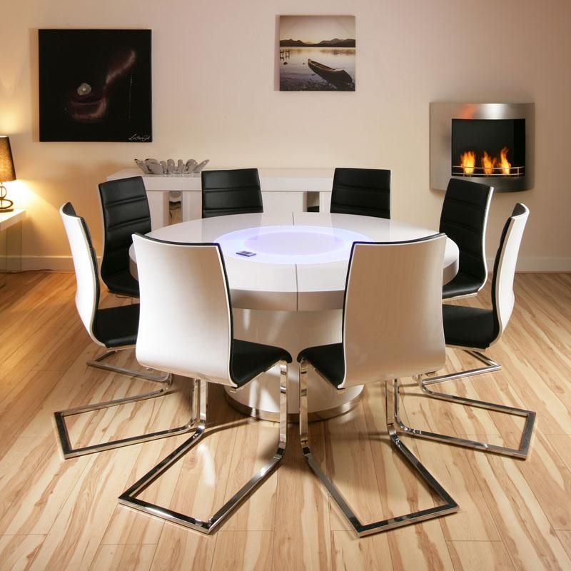Modern Round Dining Table For 8 Intended For 8 Seater Round Dining Table And Chairs (Image 13 of 20)