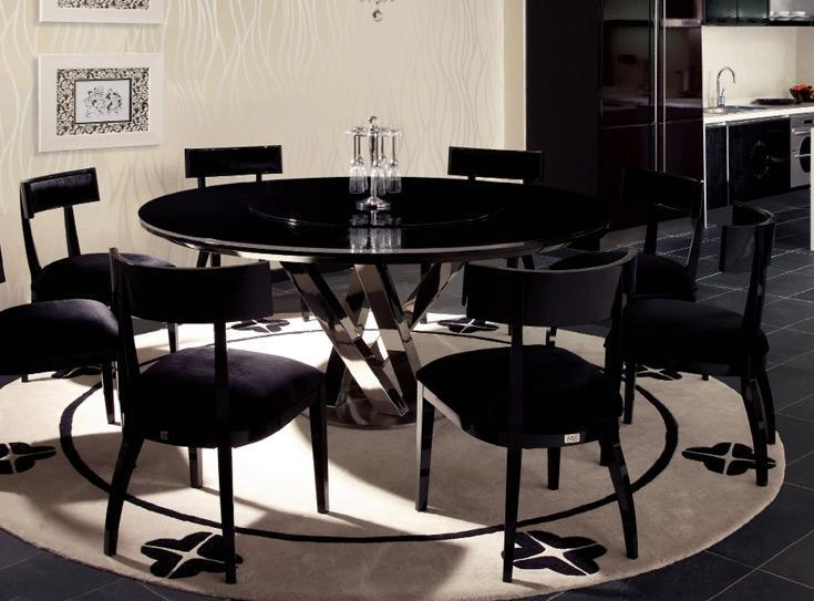 Modern Round Dining Table For 8 Throughout Dark Round Dining Tables (Image 17 of 20)