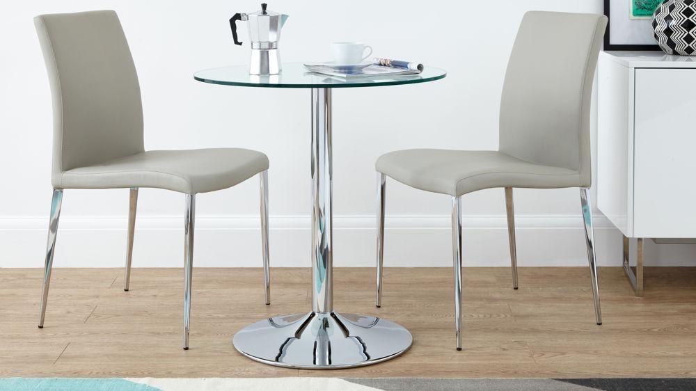 Modern Round Glass And Chrome Table | 2 Seater | Uk Intended For Dining Tables And 2 Chairs (Image 11 of 20)
