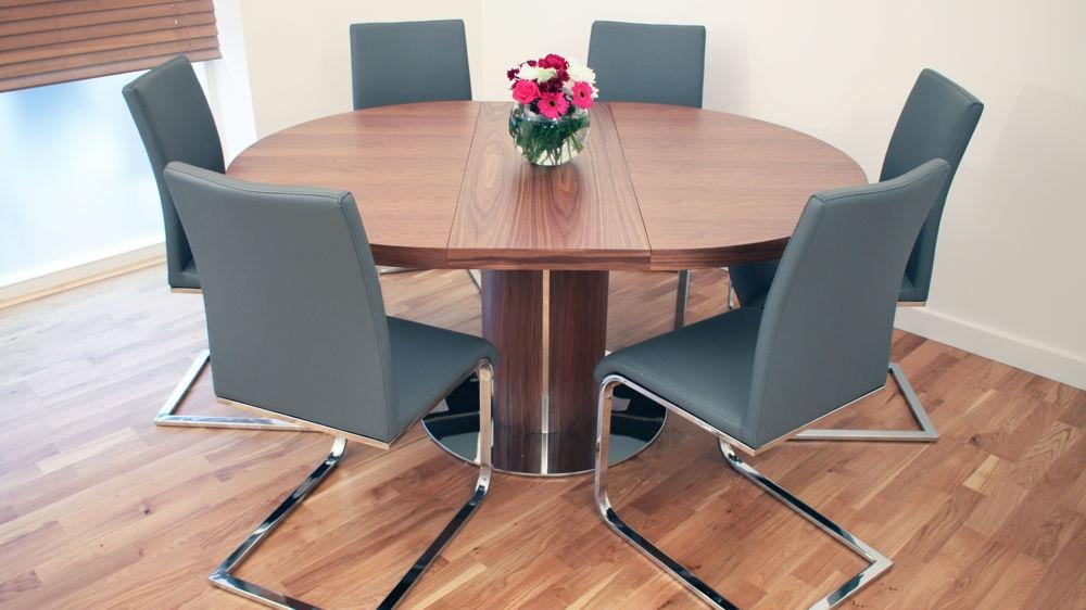 Modern Round Walnut Wooden Extending Dining Table And Cantilever Inside Verona Dining Tables (Image 9 of 20)