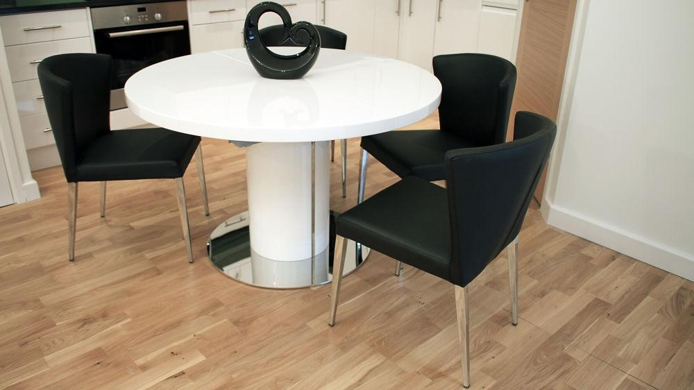 Modern Round White Gloss Extending Dining Table And Chairs | Seats 4 6 Regarding 4 Seater Extendable Dining Tables (Image 17 of 20)