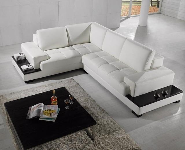 Modern Sectional Sofa In White Bonded Leather – Modern – Living Intended For Leather Modern Sectional Sofas (View 12 of 20)