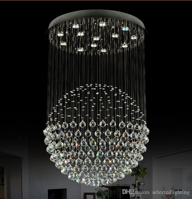 Modern Staircase Led Crystal Chandeliers Lighting Fixture For For Crystal Ball Chandeliers Lighting Fixtures (Image 19 of 25)