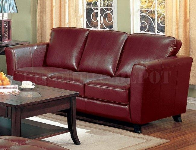 Modern Style Burgandy Leather Sofa With Bo Burgundy Leather Intended For Burgundy Leather Sofa Sets (Image 19 of 20)