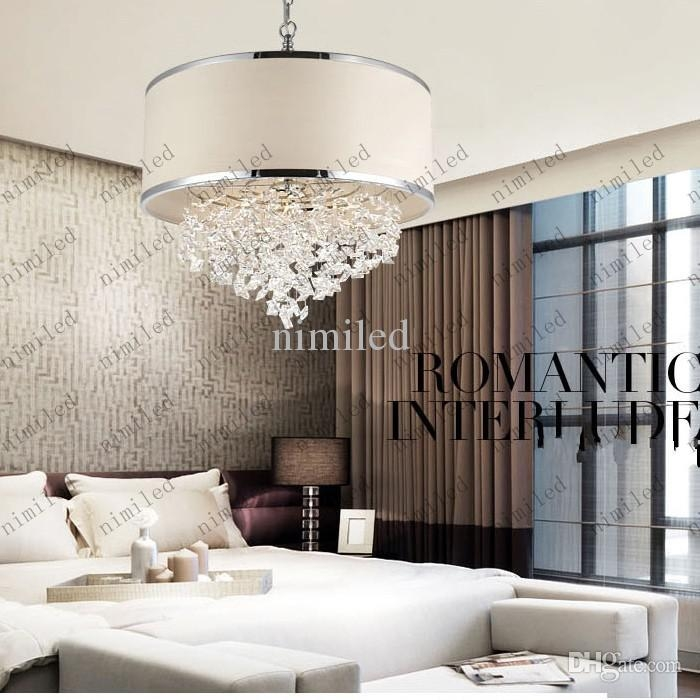 Modern Trendy White Lampshade Chandelier K9 Crystal Lamp Bedroom For Chandelier Night Stand Lamps (Image 22 of 25)