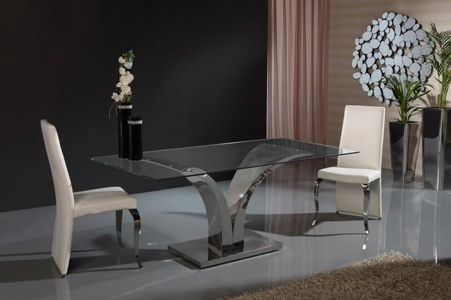 Modern V Shaped Base Glass Dining Table – Contemporary – Dining In Dining Tables London (Image 17 of 20)
