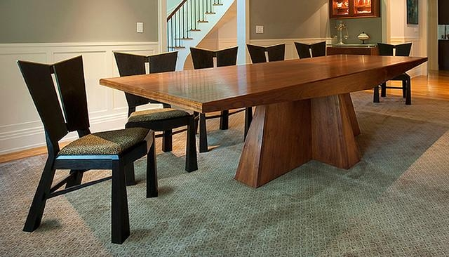 Modern Walnut Dining Table And Ebonized Charis – Modern – Dining Throughout New York Dining Tables (Image 9 of 20)