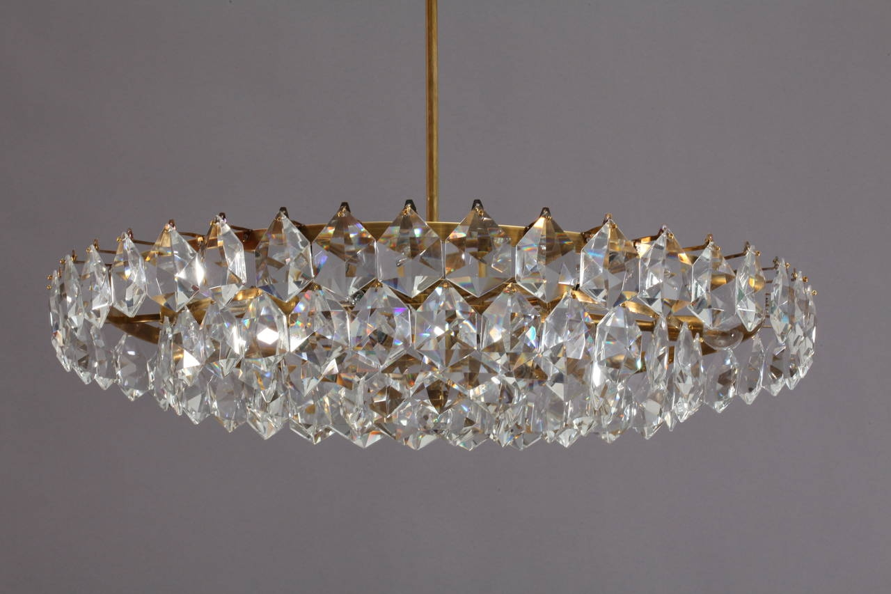 Modernist Crystal Glass Chandelier Hexagonal Drop Shape Crystals Throughout Vienna Crystal Chandeliers (Image 12 of 25)