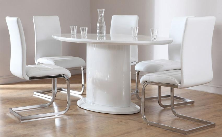 Monaco White High Gloss Oval Dining Table And 4 Chairs Set (Perth Regarding Monaco Dining Tables (Image 19 of 20)