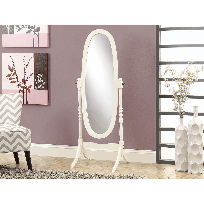 Monarch Antique Oval Cheval Mirror (I3102) – White : Mirrors For Antique White Oval Mirror (Image 15 of 20)