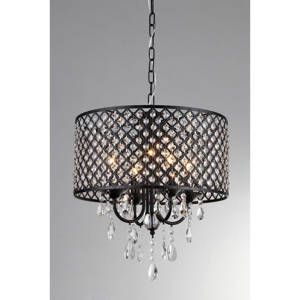 Monet 17 In Black Indoor Drum Shade Crystal Chandelier With Shade With Regard To Chandelier With Shades And Crystals (Image 22 of 25)