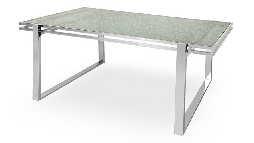 Mosaic Dining Table Cracked Glass Top Stainless Steel Bas | Zuri Intended For Glass And Stainless Steel Dining Tables (Image 13 of 20)