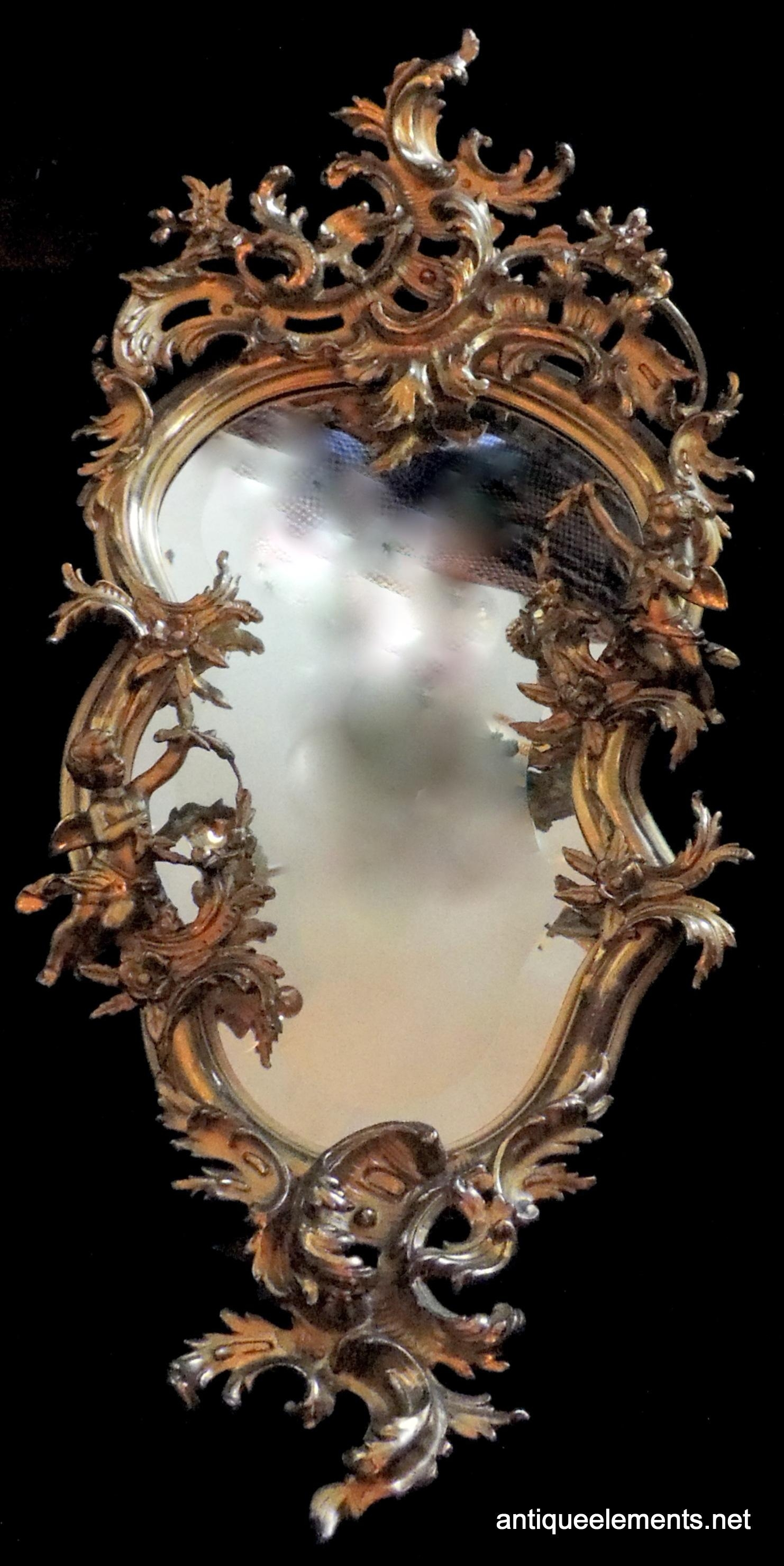 Mr147 19Th Century French Gilt Cherub Rococo Mirror | Antique Elements Intended For French Rococo Mirror (Image 17 of 20)