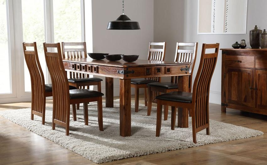 Mumbai 180Cm Sheesham Dining Table And 6 Chairs Set (Java Sheesham Within Sheesham Wood Dining Tables (Image 8 of 20)