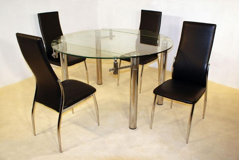 Munich Round Extending Clear Glass Dining Table With 4 Lazio Regarding Lazio Dining Tables (View 11 of 20)