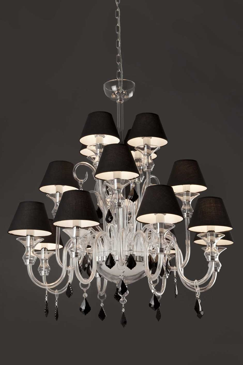 Murano 16 Light Chandelier With Black Shades And Black Crystal Pertaining To Chandeliers With Black Shades (Image 18 of 25)