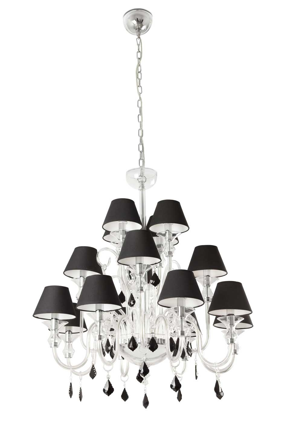 Murano 16 Light Chandelier With Black Shades And Black Crystal Within Chandeliers With Black Shades (Image 19 of 25)