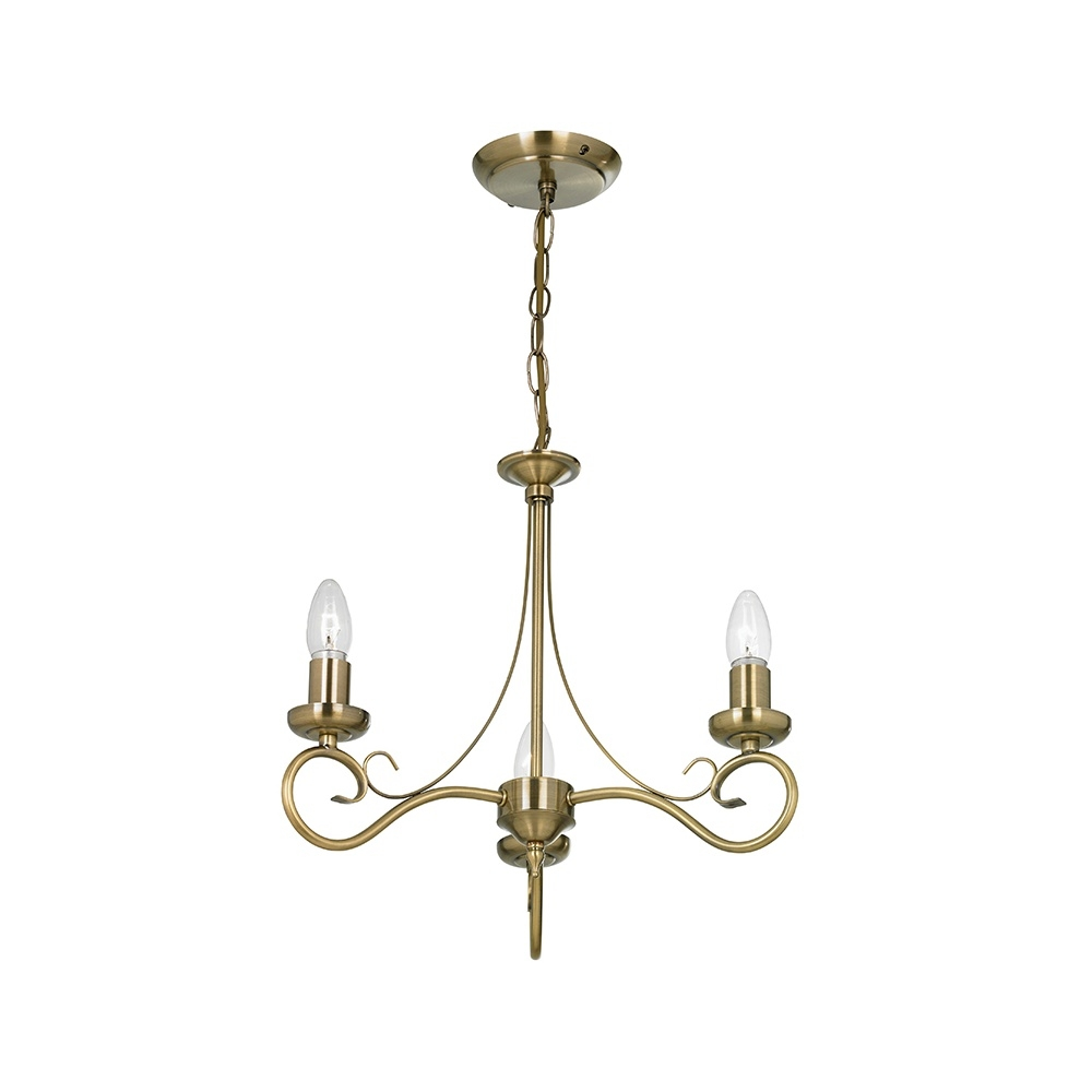 My Account Lighting 180 3an 3 Light Chandelier In Antique Brass Throughout Endon Lighting Chandeliers (View 14 of 25)