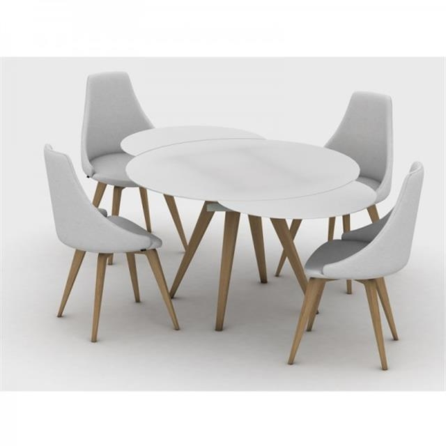 Myles Circular Extending Dining Table Pertaining To Extendable Round Dining Tables (Image 14 of 20)