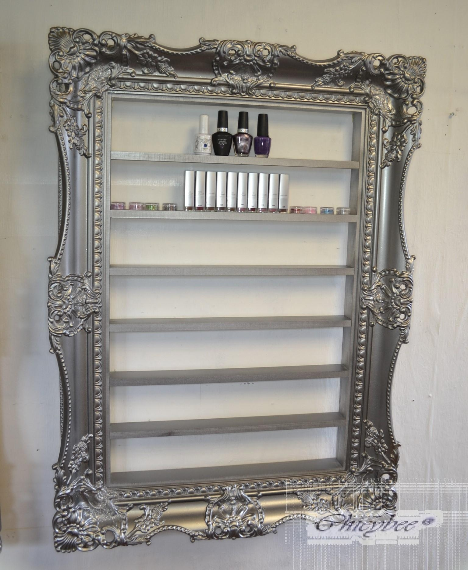 Nail Polish Rack Display Frame Very Wide And Ornate Pewter Silver Pertaining To Pewter Ornate Mirror (Image 6 of 20)