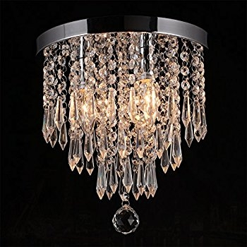 Navimc Mini Modern Crystal Chandeliers Rain Drop Pendant Flush Intended For Wall Mount Crystal Chandeliers (Image 17 of 25)
