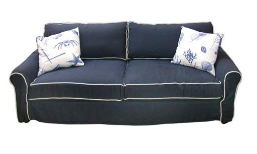 Navy Blue Linen Slipcovered Sofa At 1Stdibs Pertaining To Blue Slipcover Sofas (Image 10 of 20)