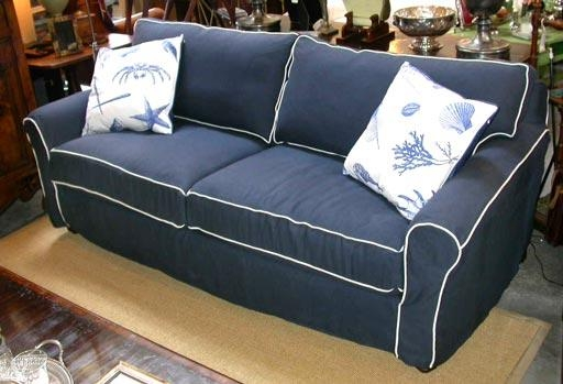 Navy Blue Linen Slipcovered Sofa At 1Stdibs Within Blue Slipcover Sofas (Image 11 of 20)