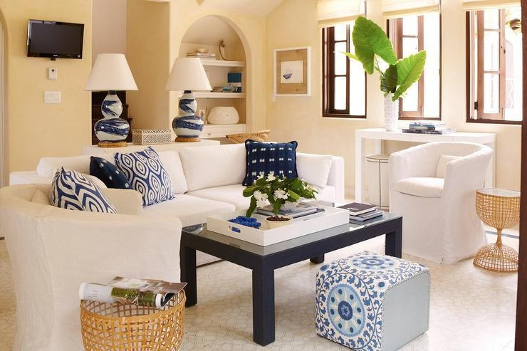 Navy Blue Sofa – Transitional – Living Room – House Beautiful Intended For Blue Sofa Tabless (Image 17 of 20)
