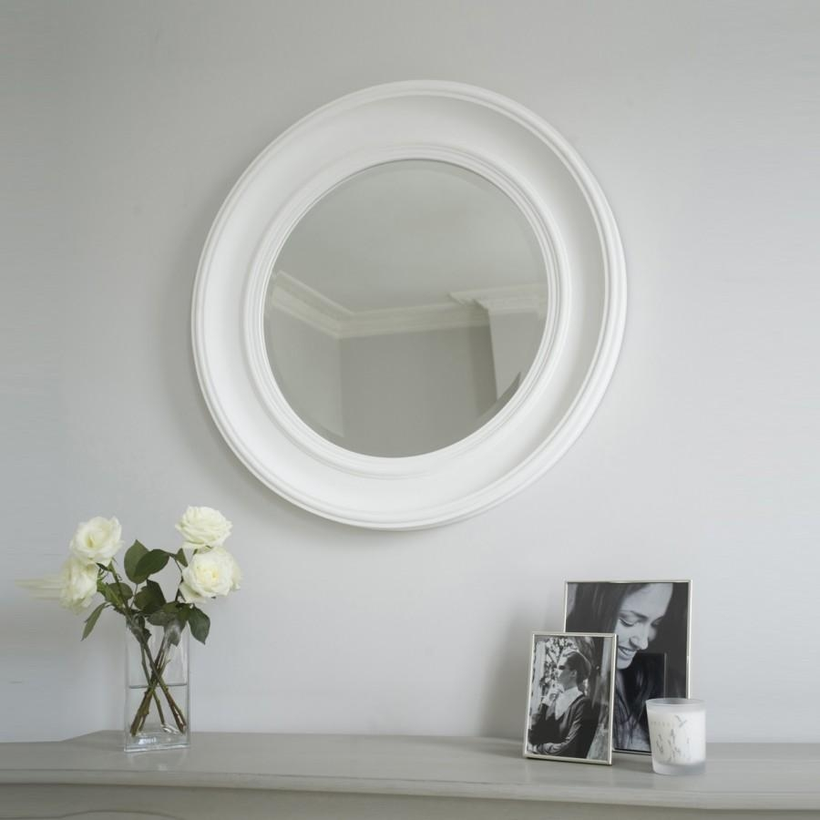 New England Mirror – White | Brissi Intended For Round Bevelled Mirror (Image 6 of 20)