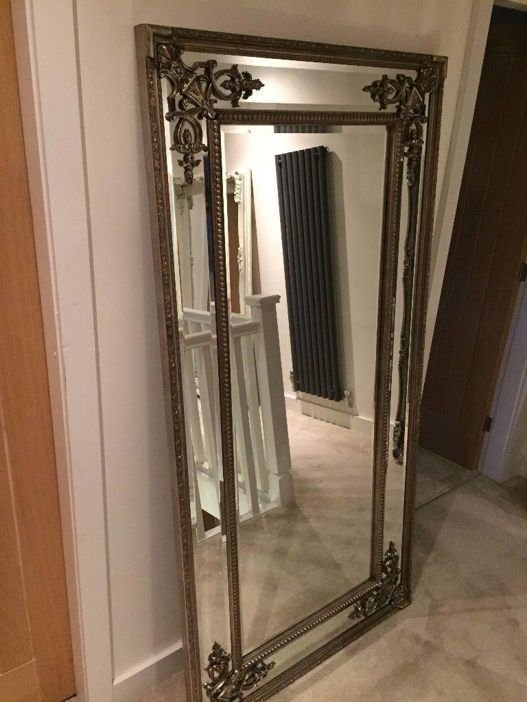 New Large Pewter Silver Oblong Leaner Wall Mirror 6Ft X 3Ft Ornate With Large Pewter Mirror (Image 16 of 20)