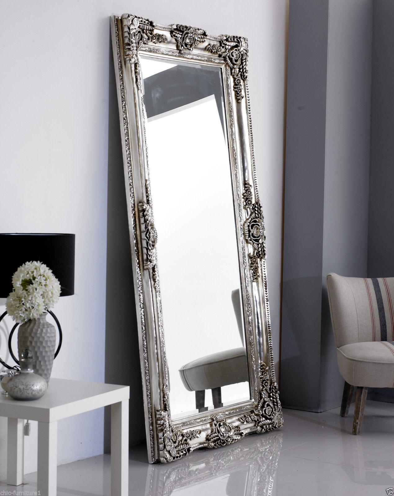 New!!! Large Rocco Leaner Silver Ornate Wall Mirror – 200X100Cm | Ebay Inside Silver Ornate Wall Mirror (Image 10 of 20)
