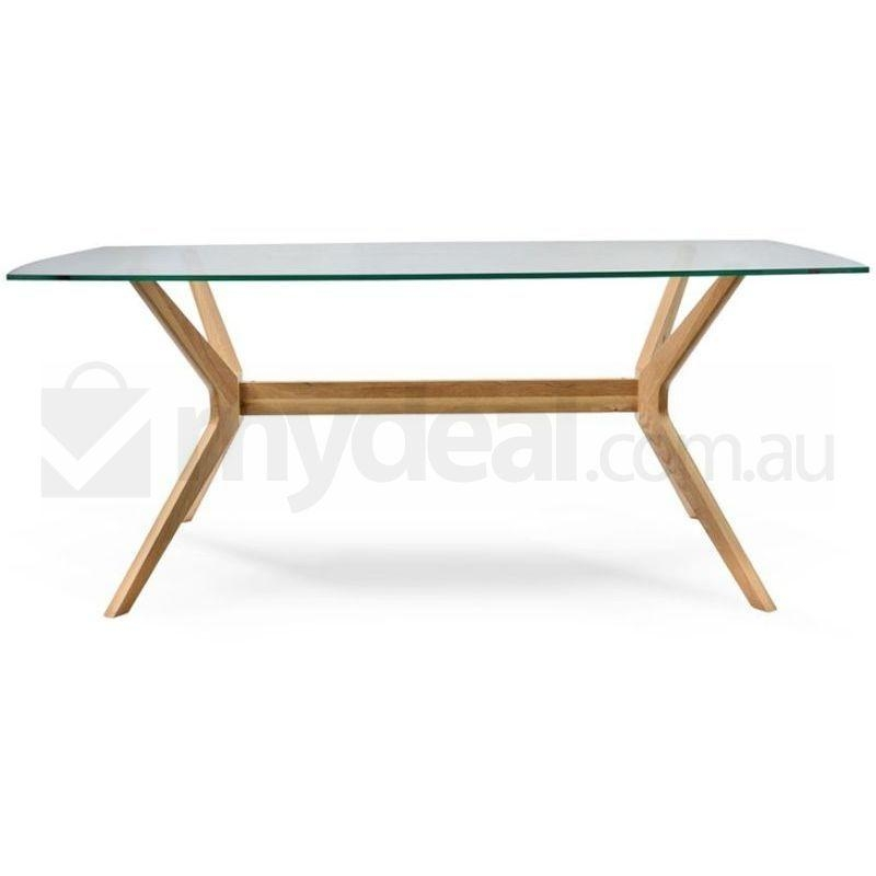 Nora Retro Oak Dining Table With Glass Top Natural | Buy Dining Tables Pertaining To Nora Dining Tables (View 6 of 20)