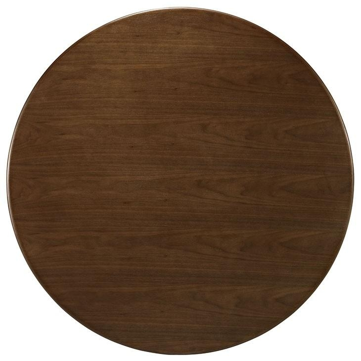 Nora Walnut Modern Round Dining Table Pertaining To Nora Dining Tables (View 18 of 20)