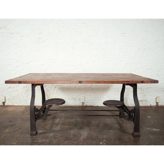 Nuevo V45 Reclaimed Wood Top Dining Table With Attached Stools Inside Dining Tables With Attached Stools (Image 13 of 20)