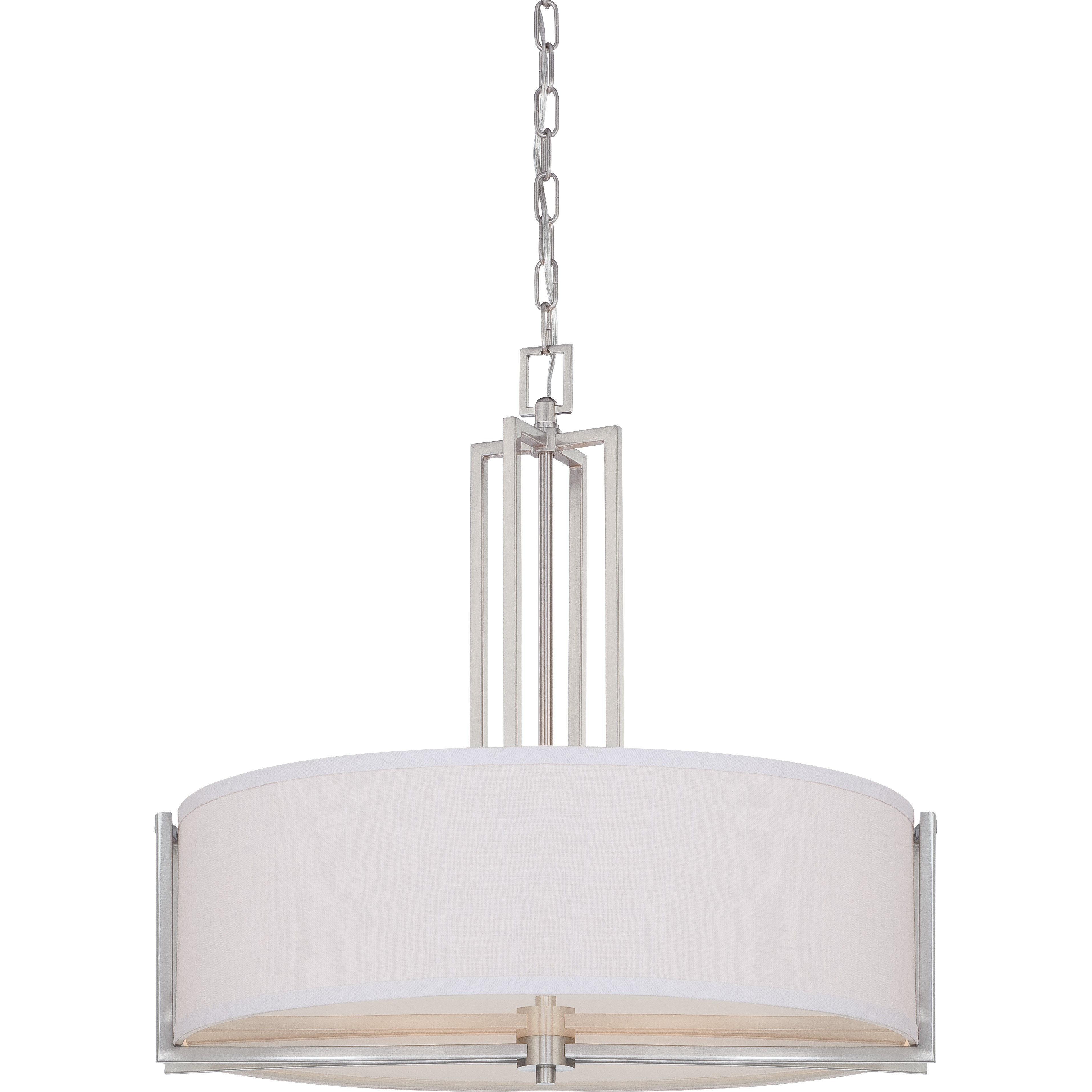 Nuvo 60 4756 4 Light Drum Pendant Lighting Gemini Collection Throughout Fabric Drum Shade Chandeliers (Image 22 of 25)