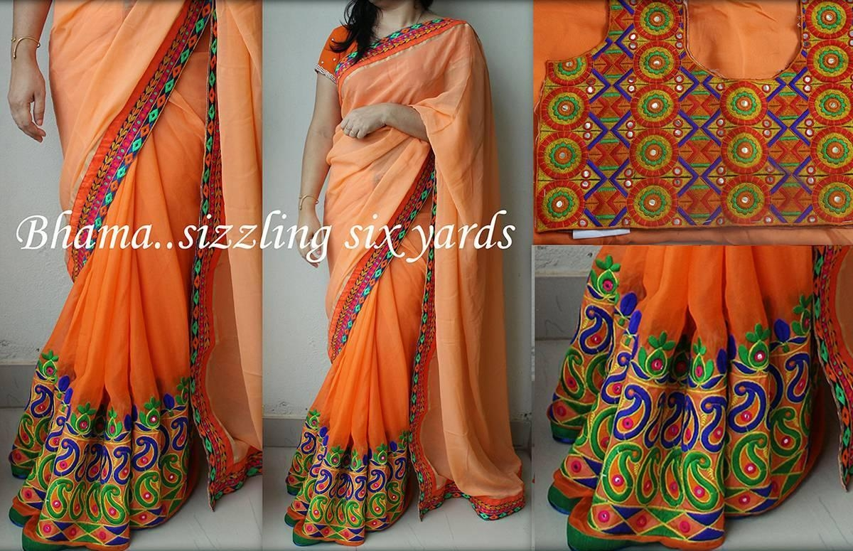 Nx 198 Orange Kutchi Thread And Mirror Work Designer Heavy Multi Regarding Online Shopping Mirror (View 15 of 20)