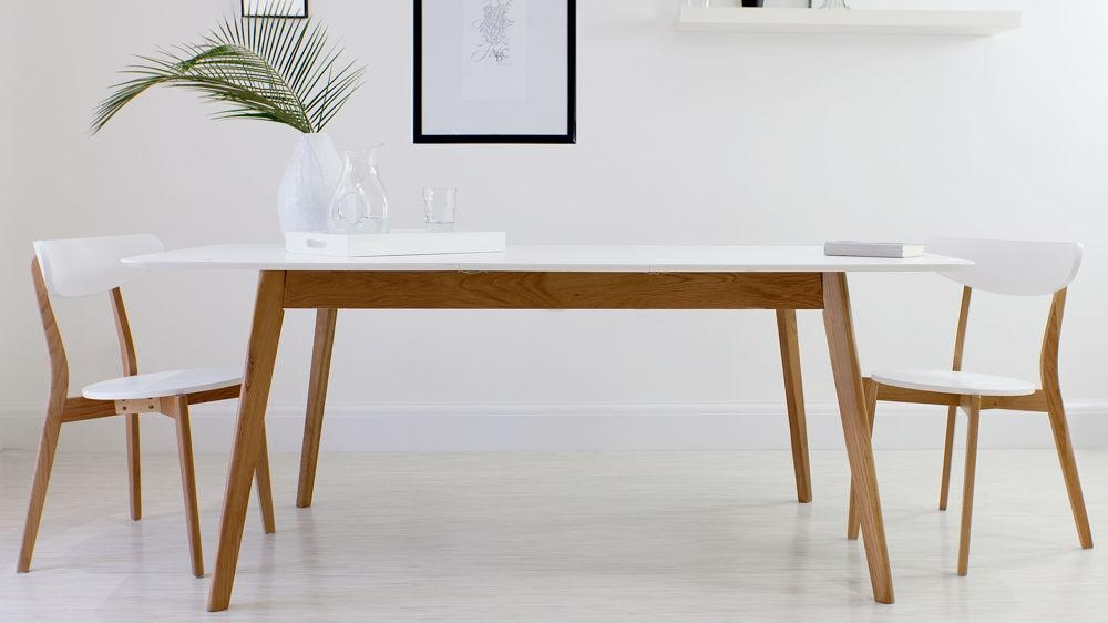 Oak And White Extending Dining Table | 8 Seater | Uk Inside White Melamine Dining Tables (View 7 of 20)