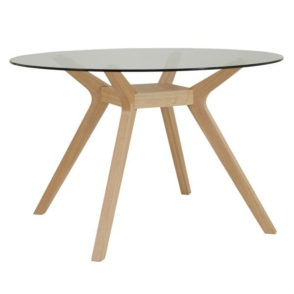 Oak, Clear Glass Dining Table, Akemi | Pinnacle Furniture Company Regarding Round Glass Dining Tables With Oak Legs (Image 12 of 20)