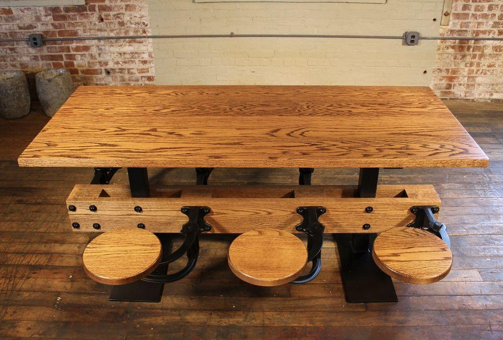 Oak Dining Table With Attached Swing Out Seats Chairs – Get Back Inc Throughout Dining Tables With Attached Stools (View 19 of 20)