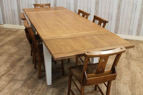 Oak Extending Farmhouse Table With A Painted Farrow & Ball Base With Regard To Extending Oak Dining Tables (Image 16 of 20)