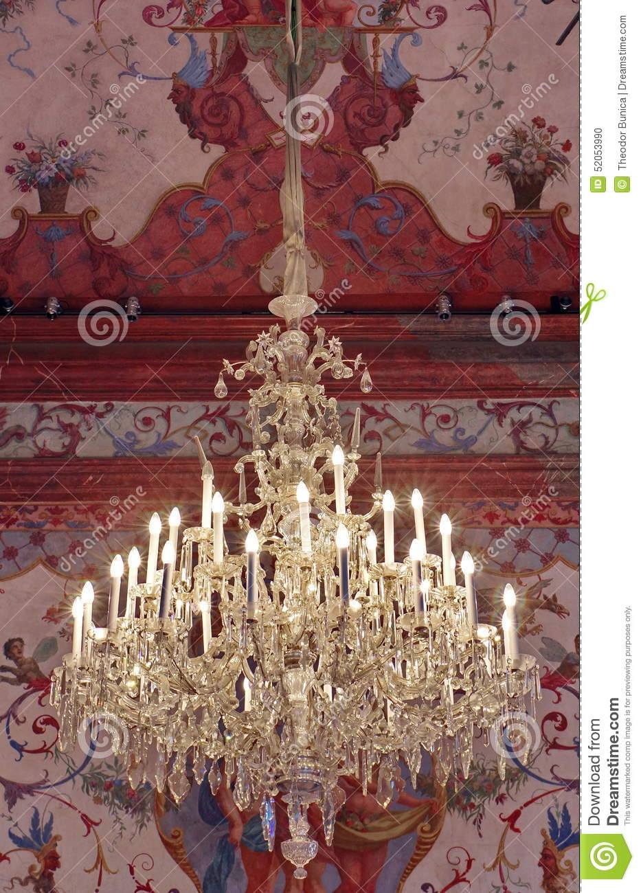 Old Crystal Chandelier Belvedere Palace Landmark Attraction In Within Vienna Crystal Chandeliers (Image 14 of 25)