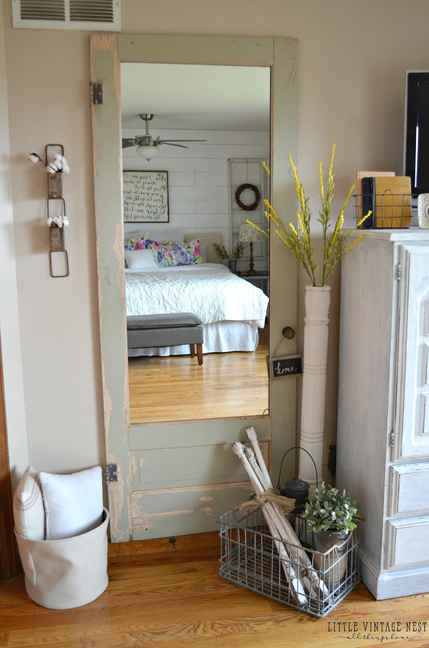 Old Door Turned Full Length Mirror – Little Vintage Nest Intended For Vintage Full Length Mirror (Image 16 of 20)