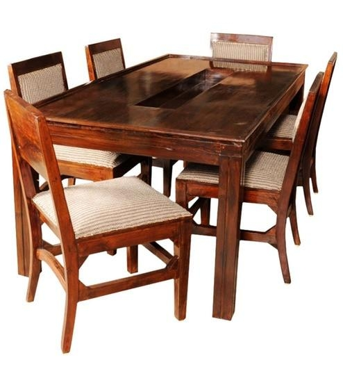 Olida Sheesham Wood Dining Table With Six Upholstered Chairs Intended For Sheesham Wood Dining Tables (Image 9 of 20)