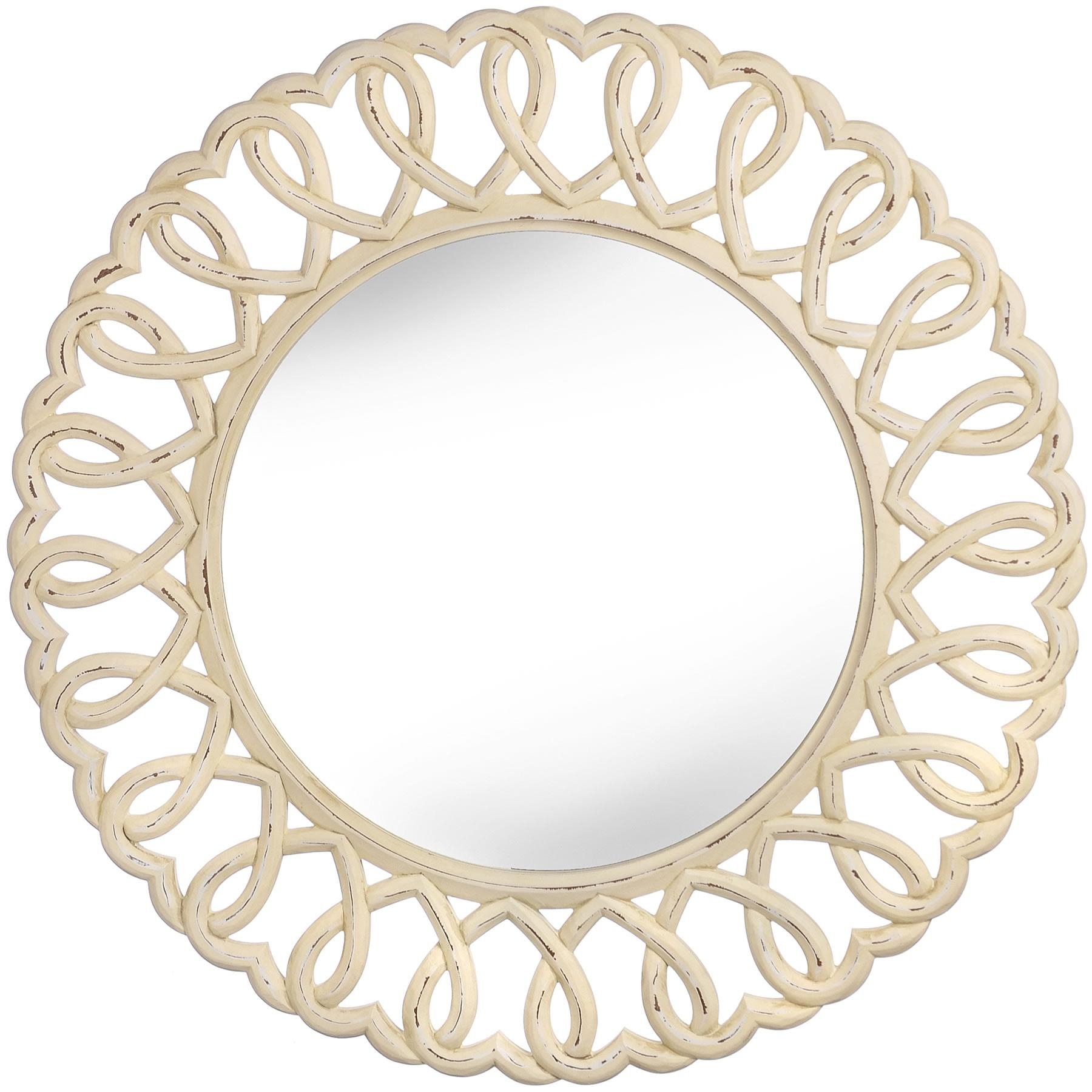 Olivia Heart Wall Mirror, Stunning Large Mirror 90Cm, Round Wall Intended For Oval Cream Mirror (Image 11 of 20)