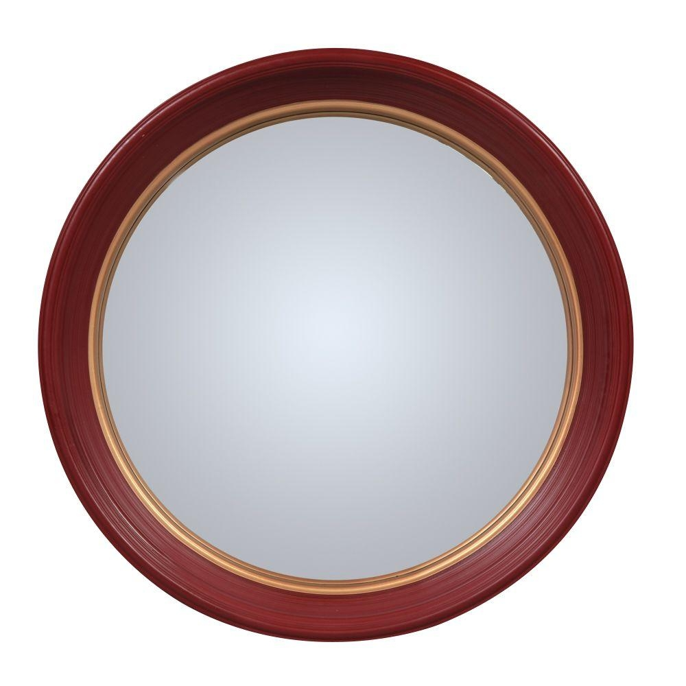 Olly Round Red Convex Mirror – Large Inside Large Round Convex Mirror (Image 17 of 20)