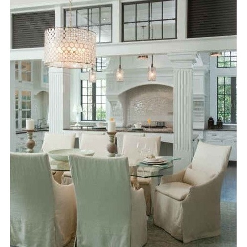 Oly Studio Serena Drum Chandelier Stainless Candelabra Inc Throughout Turquoise Drum Chandeliers (Image 16 of 25)